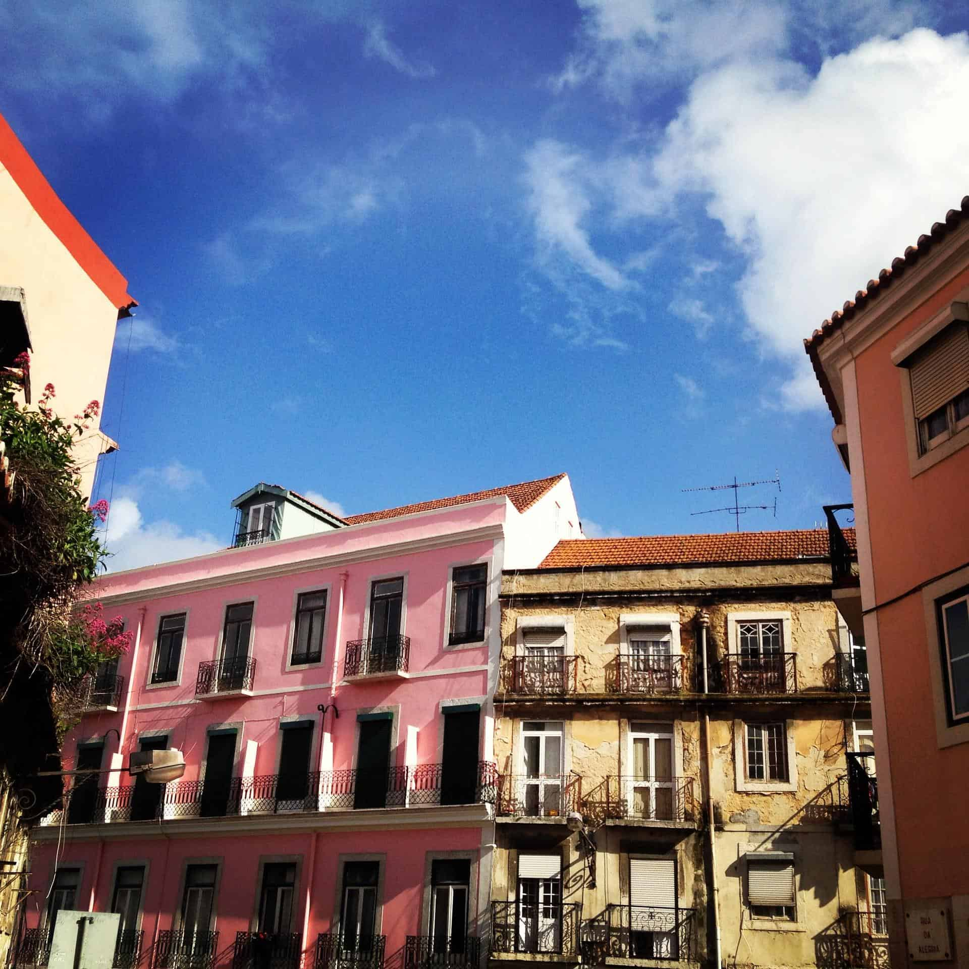 Typical brightly coloured buildings in Lisbon