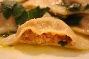 Pumpkin cashew cheese ravioli with a sage butter sauce