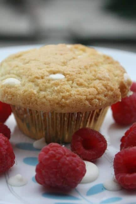 Starbucks-inspired vegan raspberry white chocolate chip muffin
