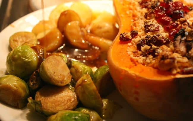 Post image for Christmas Dinner Recipe: Twice-Baked Butternut Squash with Cashew Cheese, Walnuts and Cranberries