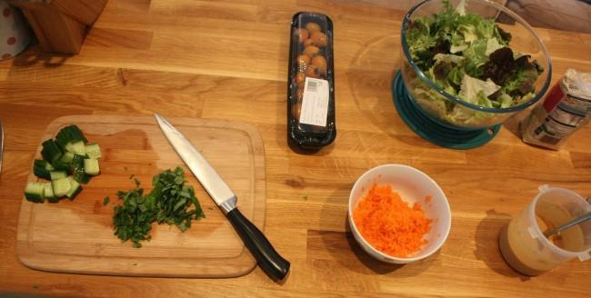 peanut sauce salad prep