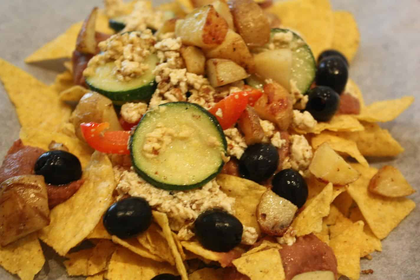 Breakfast nachos with vegan cheese