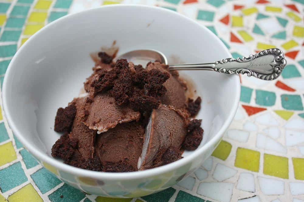 Chocolate coconut kahlua brownie chunk ice cream