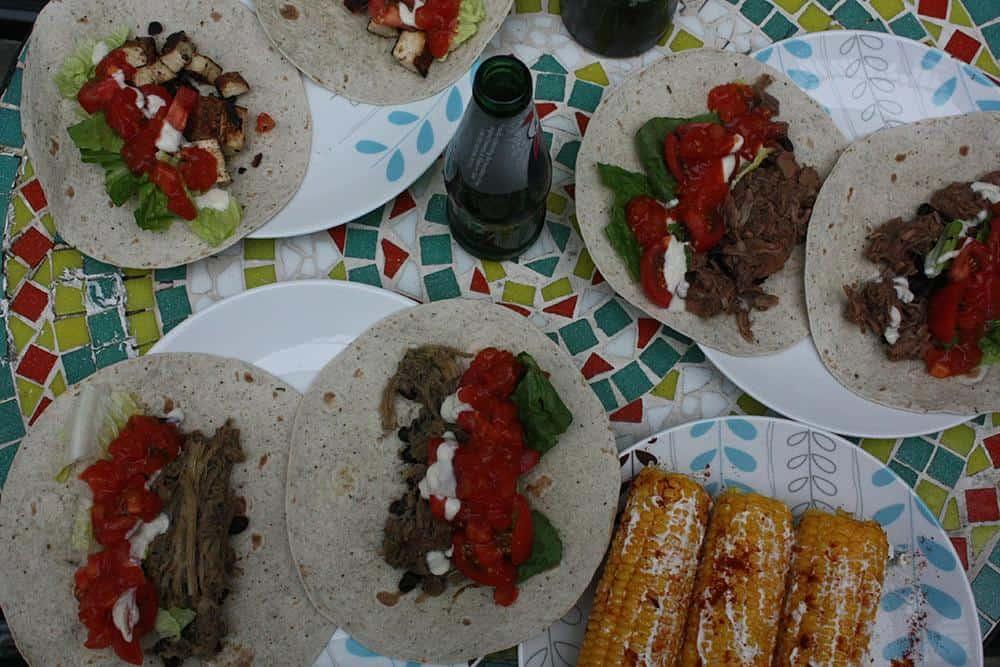 Table full of vegan tacos