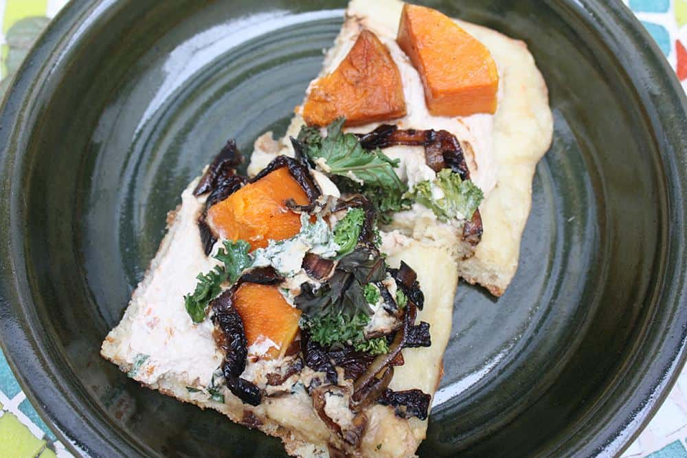 Butternut squash, kale, caramelized onion and soft cashew cheese pizza
