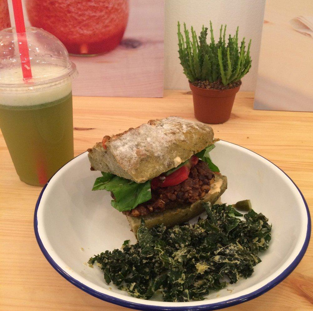 Seed burger with kale chips at Vacka, Barcelona