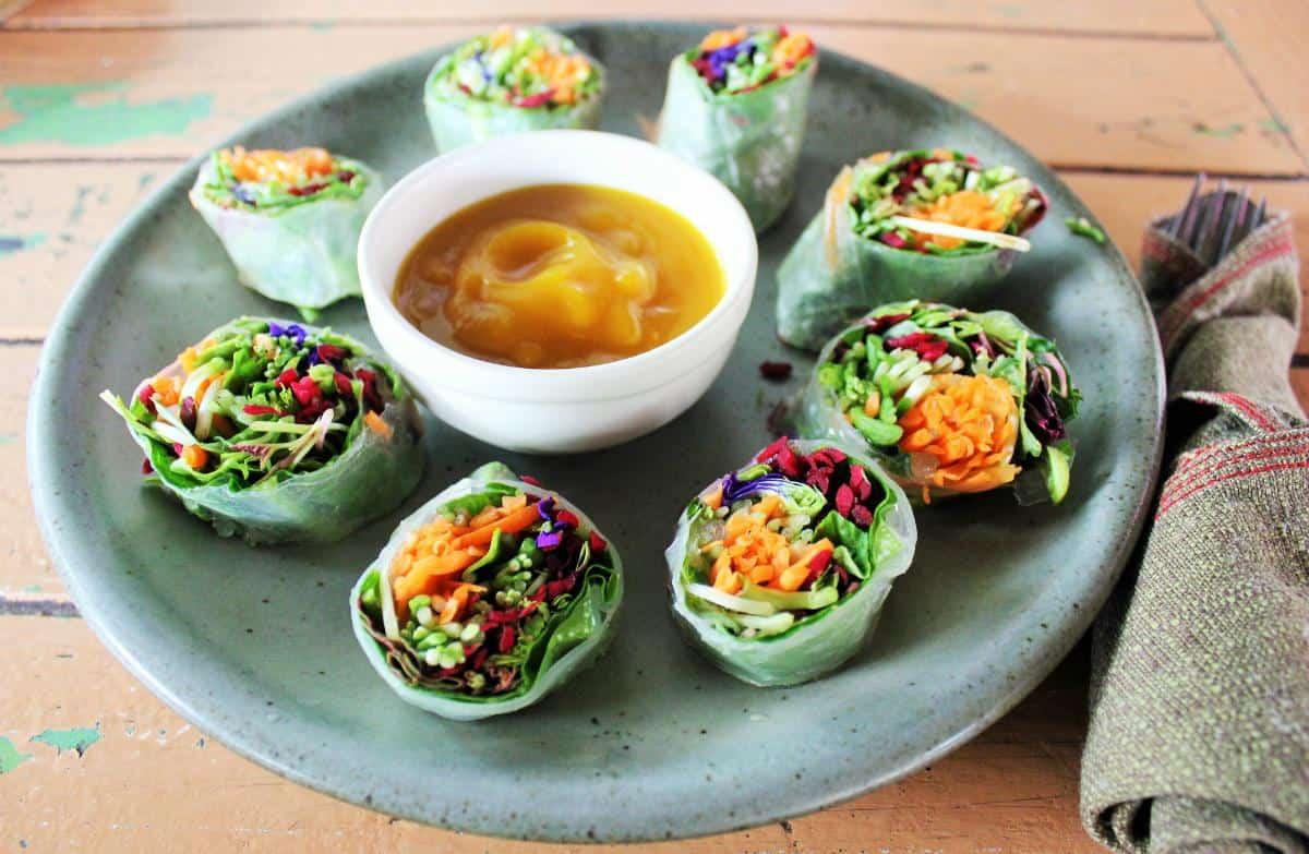 Fresh vegan springrolls at Imm Aim vegetarian cafe Chaing Mai Thailand