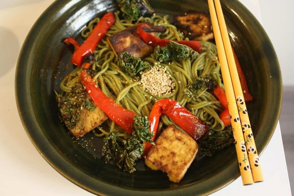 Green tea soba noodles with crispy kale and miso-lime sauce