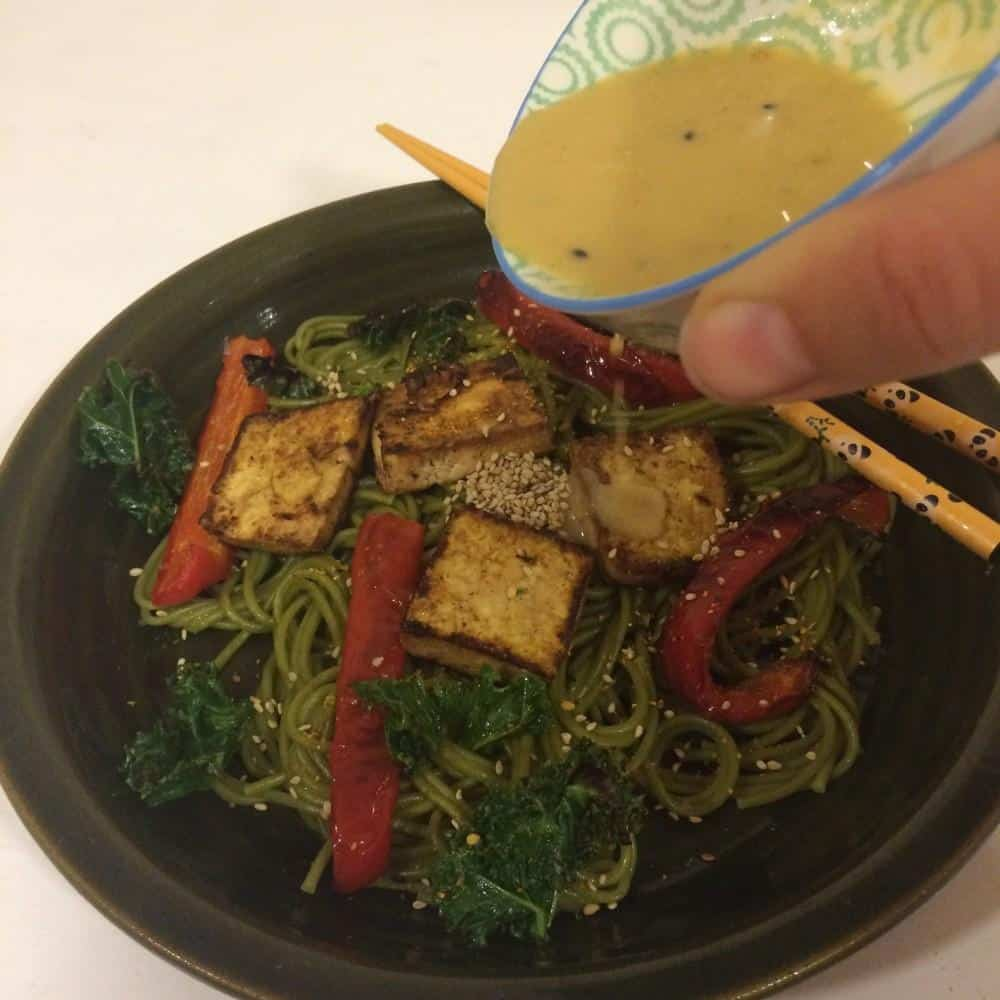 Vegan green tea soba with miso-lime sauce and crispy kale
