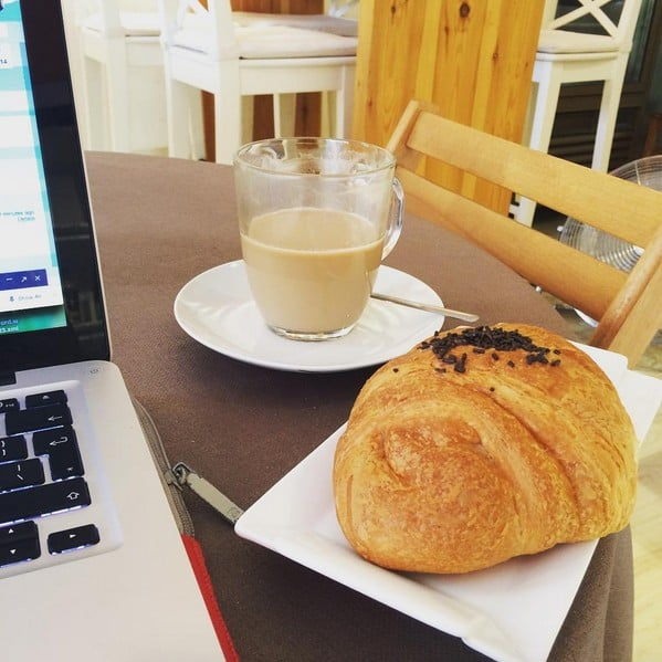 Vegan croissant and working at Knella bakery, Barcelona