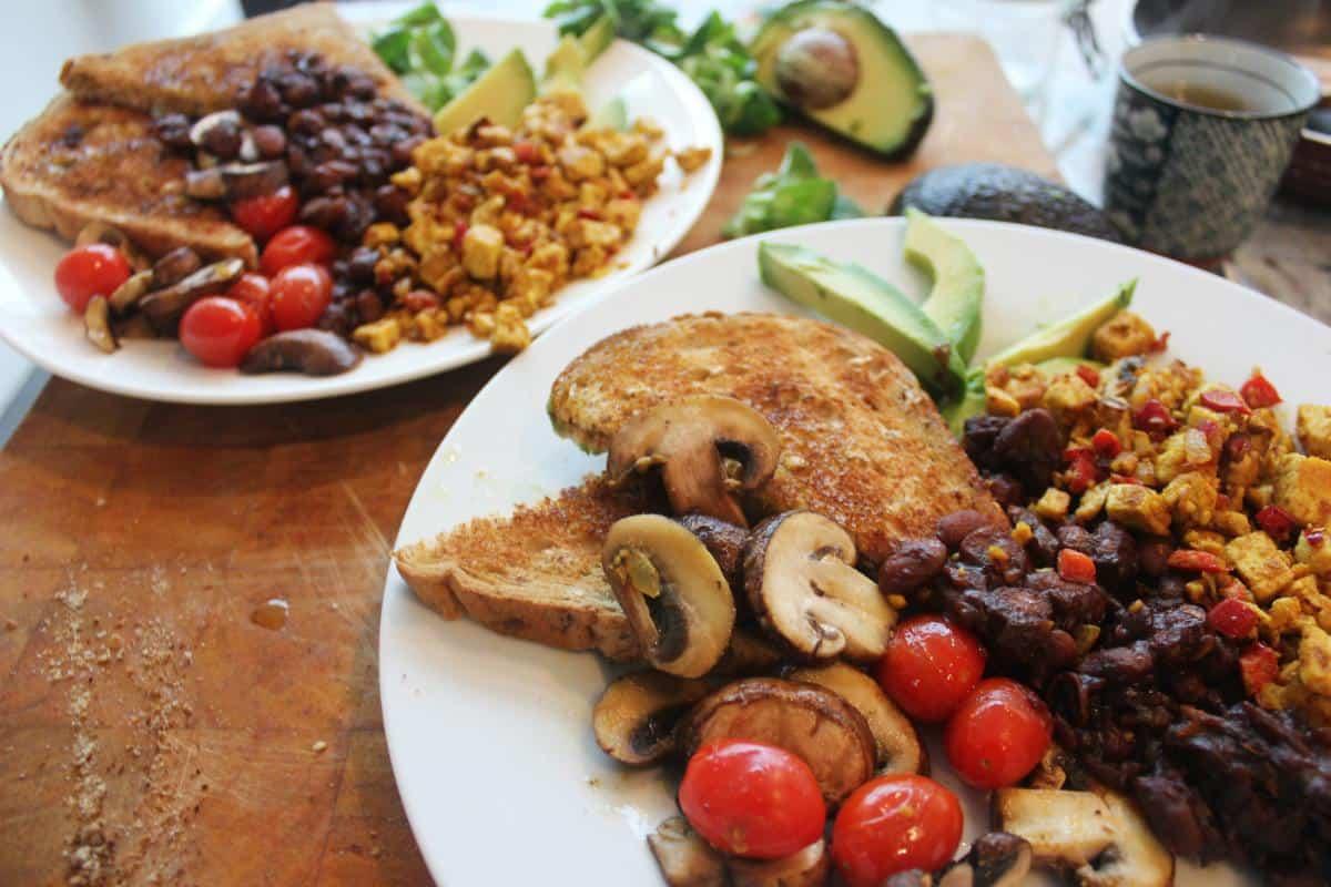 Vegan cooked breakfast for vegan travel challenge Veganuary Week 1