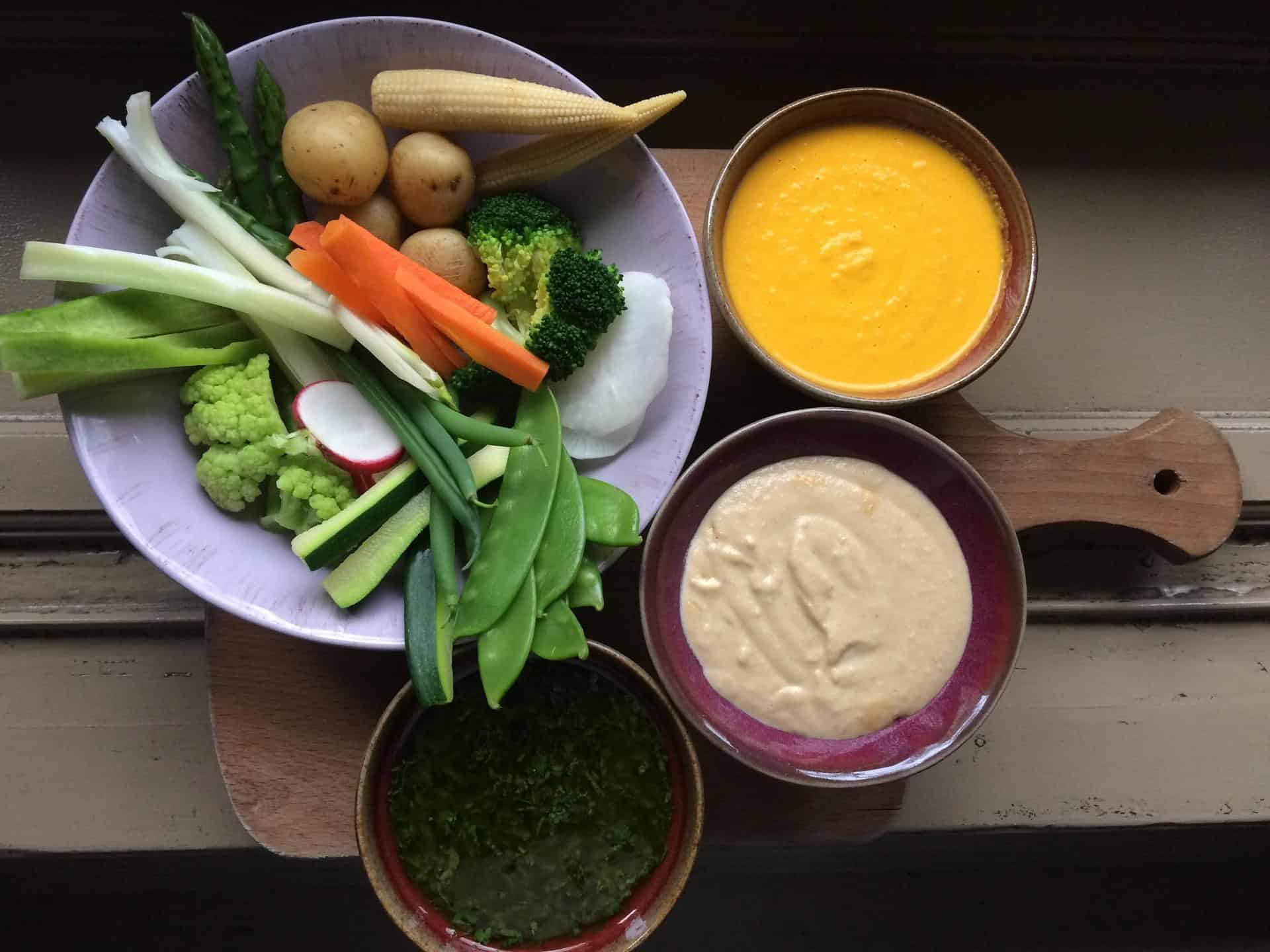 Veggie plate with cashew cheese, green sauce and carrot dipping sauces, Green Spot, Barcelona