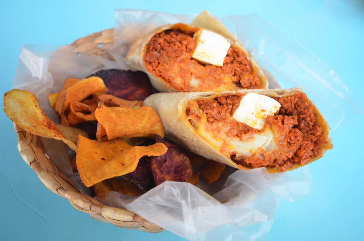 Delicious Soy Chorizo/Tofu burritos from Pan Comida, Mexico City (photo by Mindful Wanderlust)