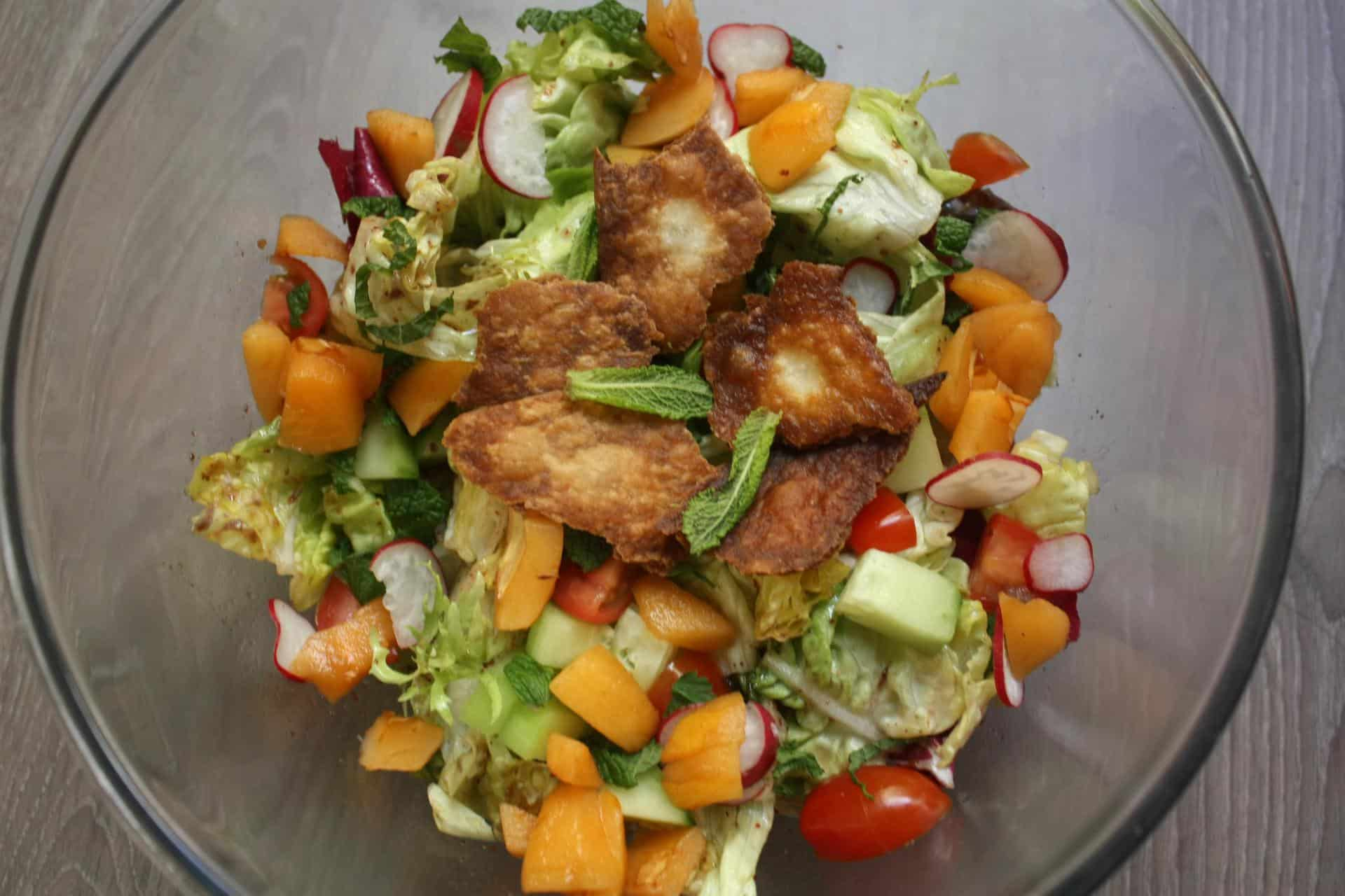Fattoush Salad with Tangy Citrus Dressing and Loquats