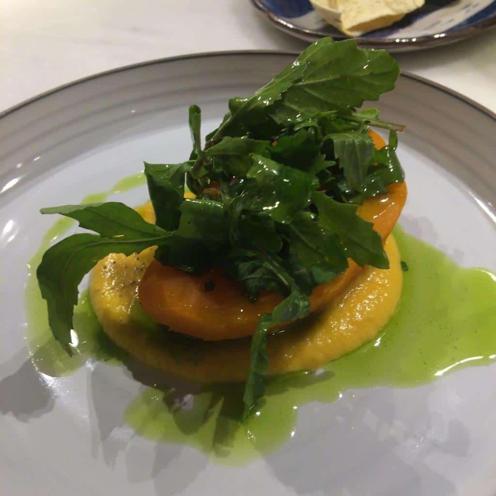 Pumpkin with pumpkin puree and greens, Celeri, Barcelona
