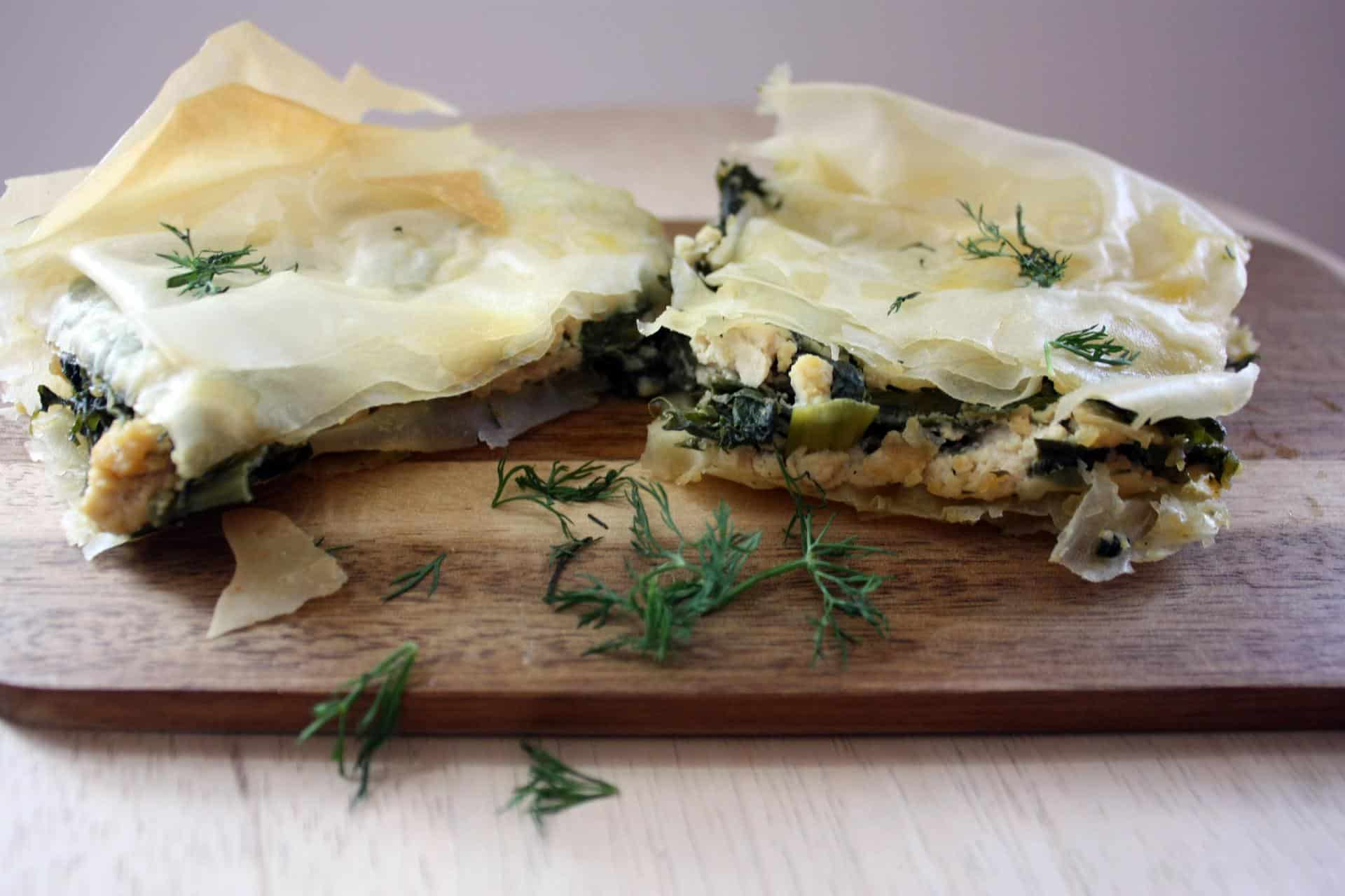 Vegan spanakopita (Greek spinach and feta pie)