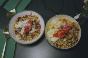 Acai bowl and vegan granola yoghurt bowl at Green & Berry, Barcelona