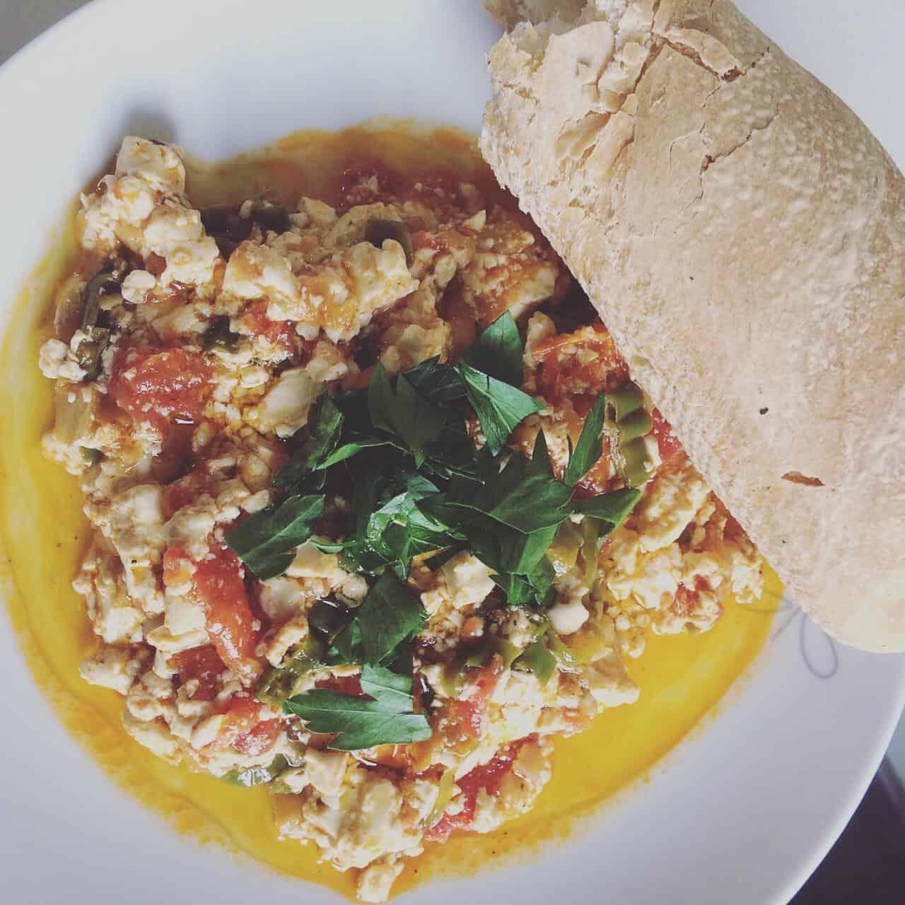 Vegan menemen, a vegan version of Turkish scrambled eggs with tofu