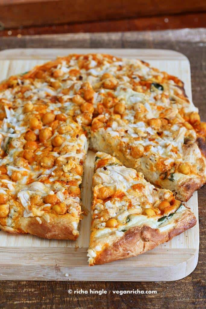 Buffalo chickpea pizza