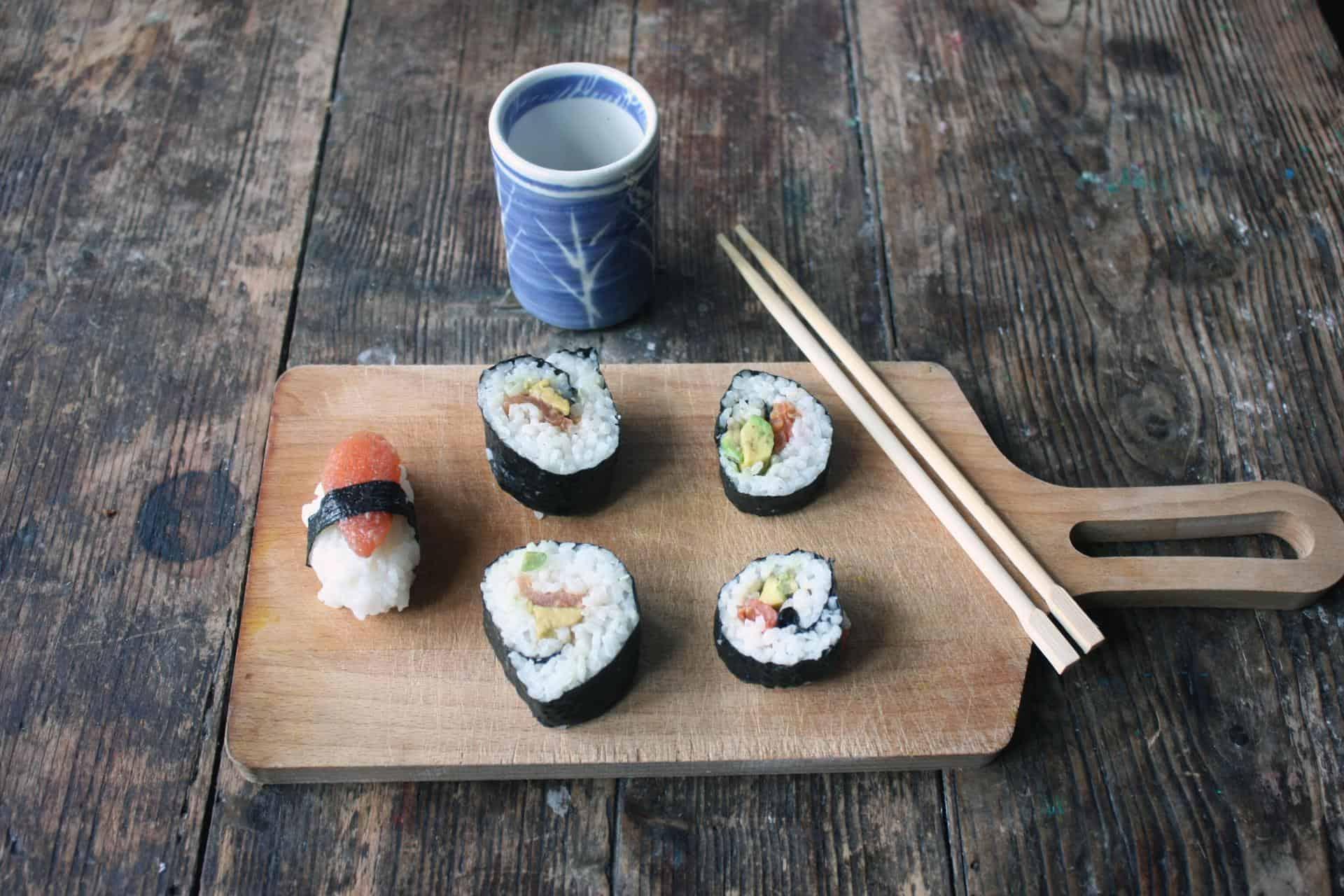 Vegan tomato fish sushi