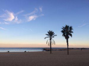 Barcelona beach in winter