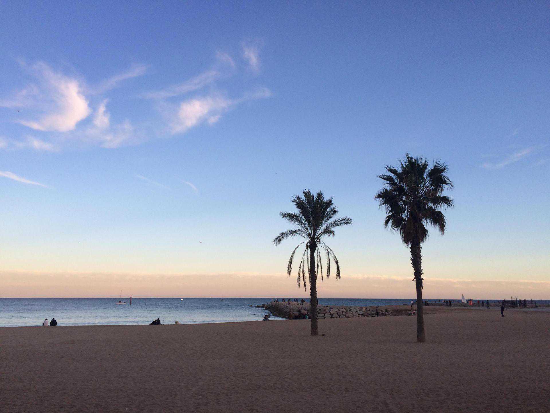Barcelona beach in winter