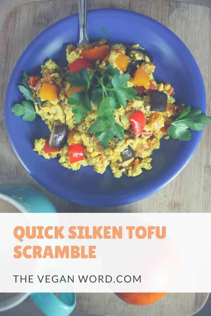 This tofu scramble takes just 10 minutes to make! Use up your leftover veggies and make this quick silken rainbow tofu scramble!