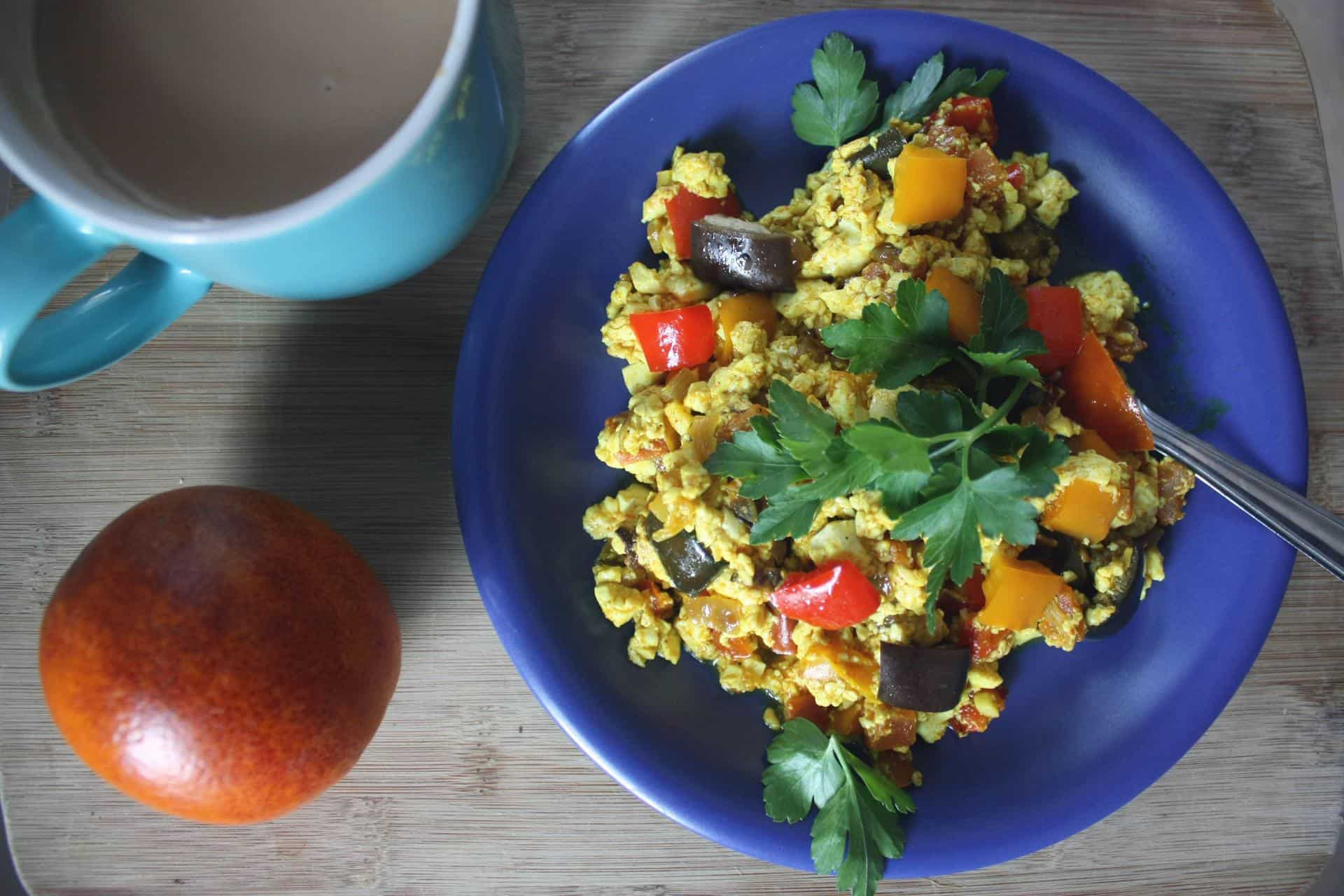 Easy rainbow silken tofu scramble