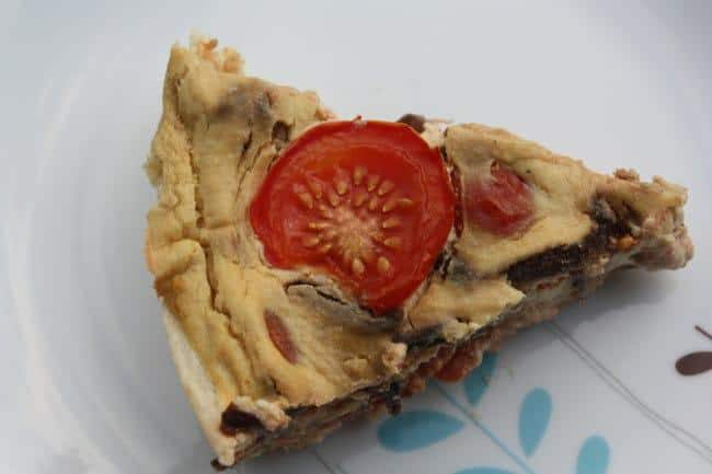 Vegan picnic recipes: caramelised onion and tomato quiche