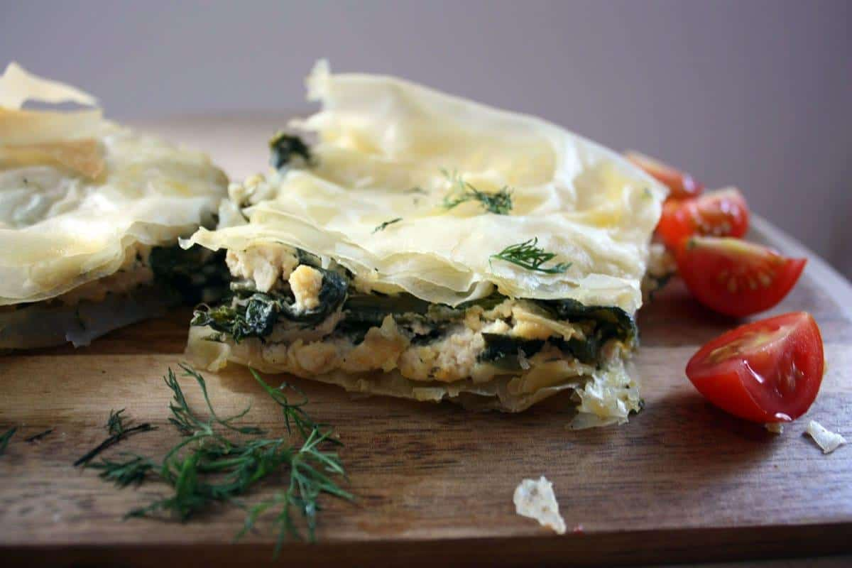 Vegan picnic recipes: spanakopita (Greek spinach and vegan feta pie)