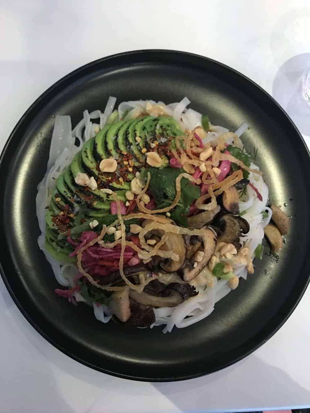 Vegan noodle bowl at Deer Mama, vegan restaurant, Amsterdam
