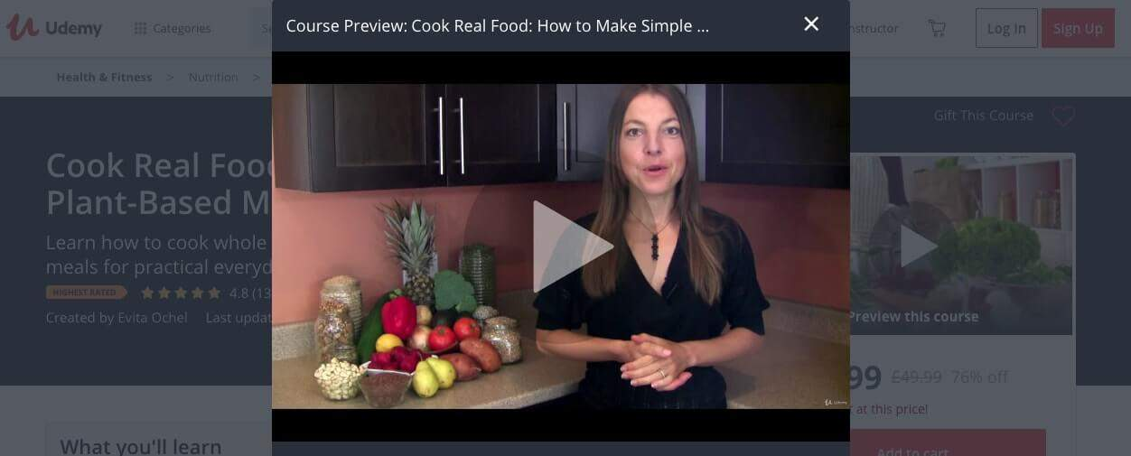 The simple plant-based meals cooking class on Udemy