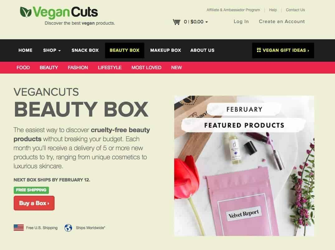 Screenshot of vegan cuts beauty box site showing flowers and makeup