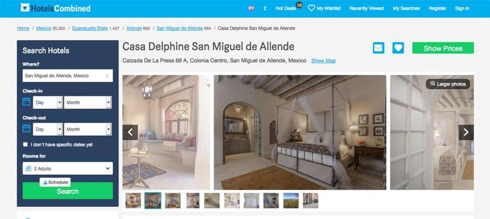 Screenshot of Casa Delphine hotel page showing rooms