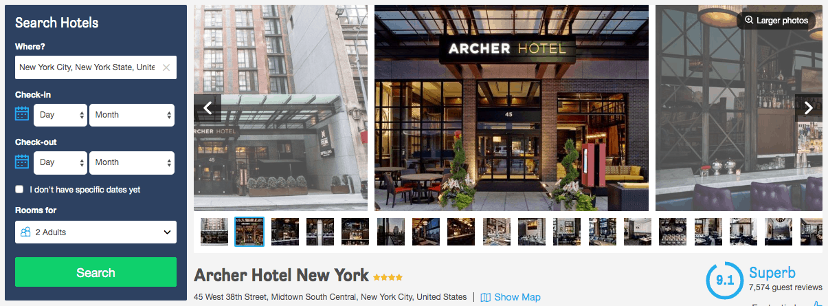 Screenshot of Archer hotel page showing exterior