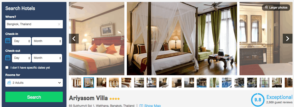 Screenshot of Ariyasom villa hotel page showing rooms