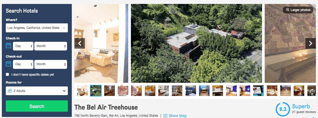 Screenshot of Bel Air Treehouse hotel page showing exterior