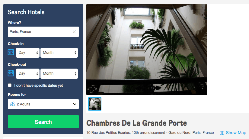 Screenshot of Chambres de La Grande Porte hotel page showing courtyard
