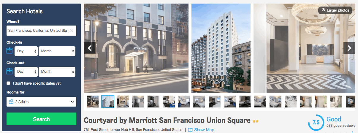 Screenshot of Marriott hotel page showing exterior