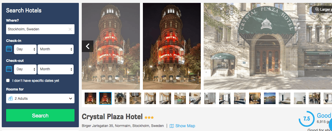 Screenshot of Crystal Plaza hotel page showing exterior