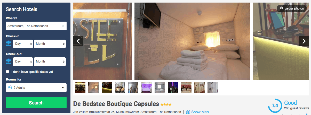 Screenshot of de Bedstee hotel page showing capsule room