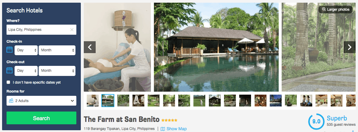 Screenshot of the Farm at San Benito page showing pool and a treatment room
