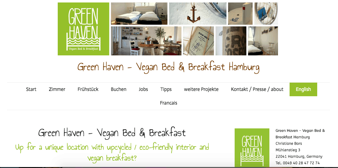 Screenshot of Green Haven hotel page