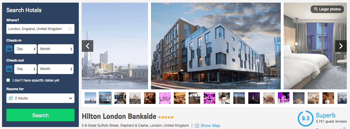Screenshot of Hilton bookign site showing exterior and a room