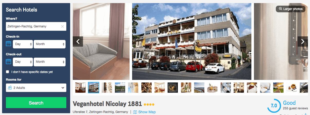 Screenshot of hotel nicolay page showing exterior