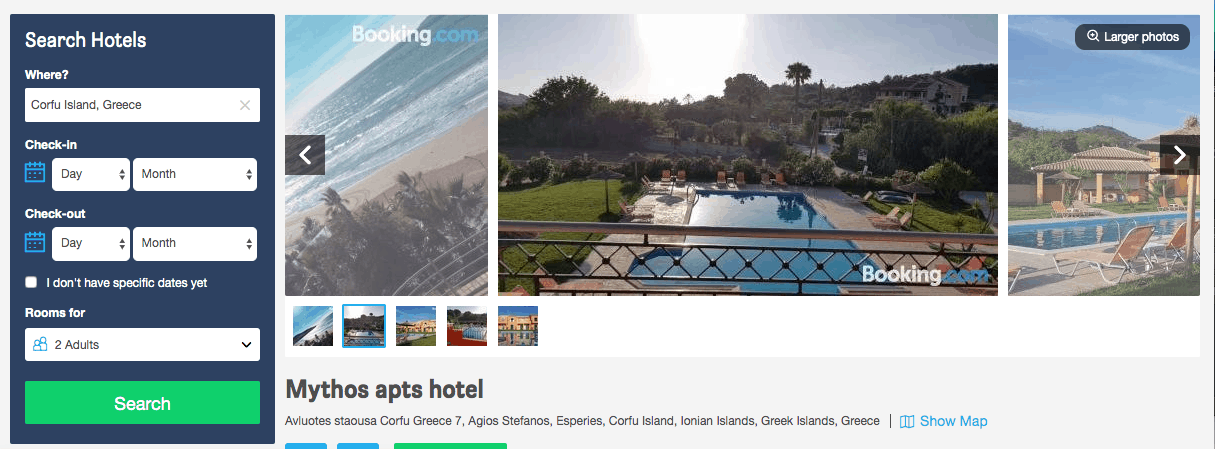 Screenshot of Mythos hotel page showing pool and sea