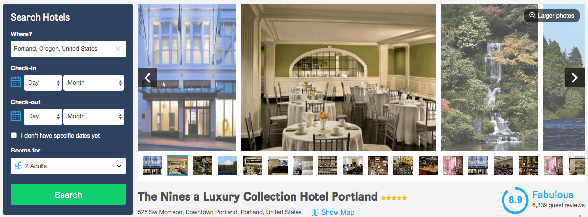 Screenshot of The Nines hotel page showing exterior, dining room and waterfall