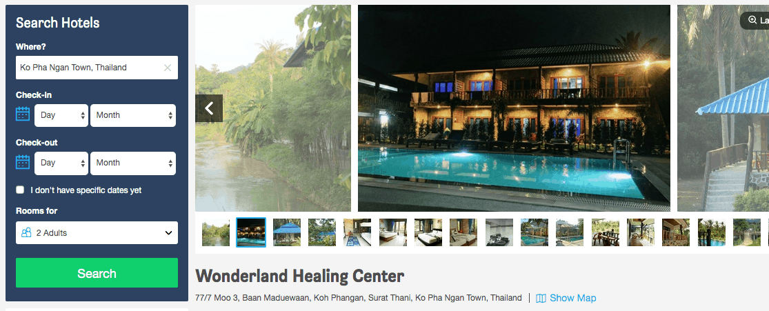 Screenshot of Wonderland hotel page showing exterior and pool