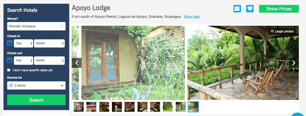 Screenshot of Apoyo Lodge booking site showing two chairs on a porch facing scenery