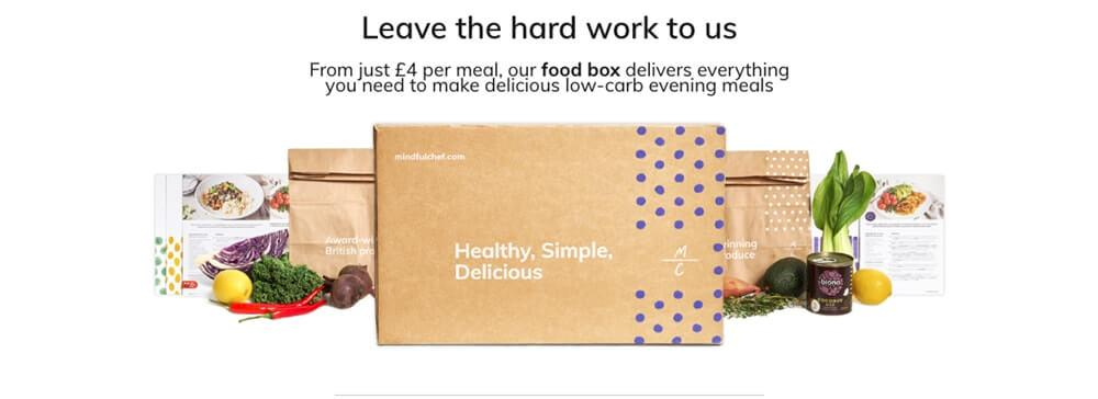 Screenshot of healthy meal delivery uk - mindful chef page, showing box and veggies